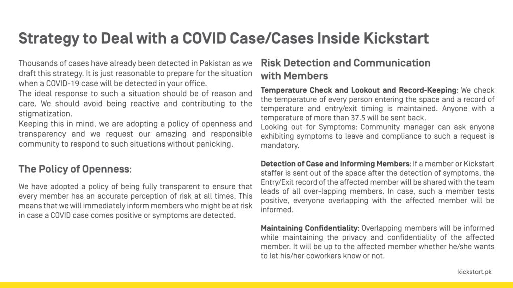 Strategy to deal with a COVID-19 positive case.